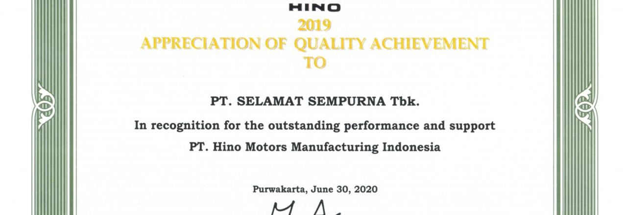 """PT Selamat Sempurna Tbk (SMSM) received Appreciation in category """"Quality Achievement in 2019"""" from HINO"""