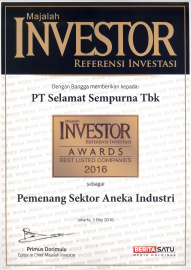 PT Selamat Sempurna Tbk (SMSM) records the achievement of receiving the Investor Awards 2016